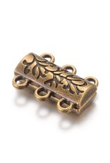 Magnetic Clasp  14x19mm 3 to 3 Loops Antique Brass   x1