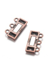 Magnetic Clasp  14x19mm 3 to 3 Loops Antique Copper   x1