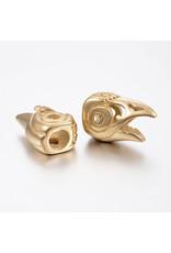 Bird Head Bead  Stainless Steel Gold 22x14x9mm  x1  NF