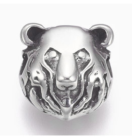 Bear Head Bead  Stainless Steel  14x13x9mm  x1  NF
