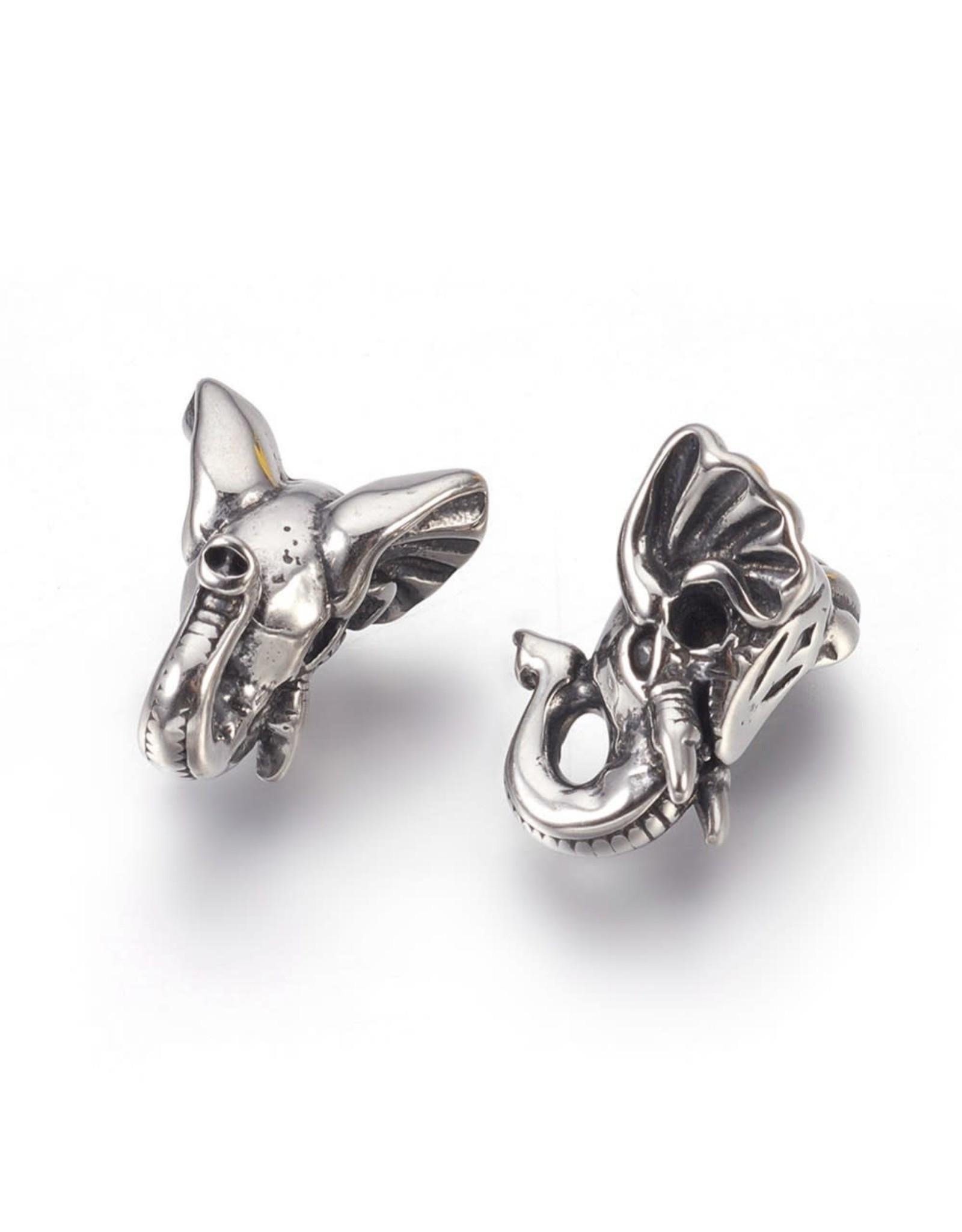 Elephant  Head Bead  Stainless Steel  16x13x8mm  x1  NF