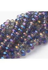 8x6mm Rondelle  Transparent Blue Purple   x65