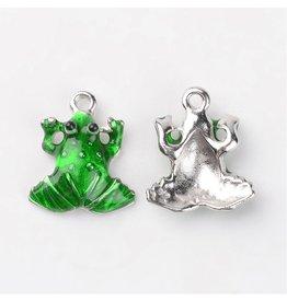 Frog  15x17mm  Silver Green Enamel  x5  NF
