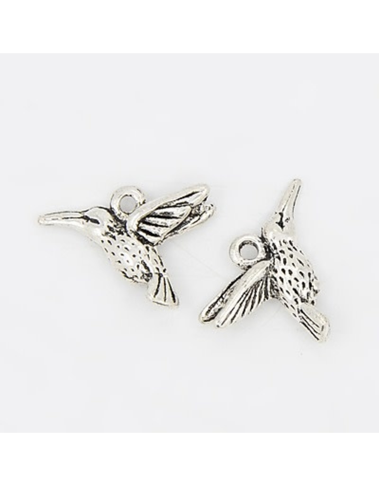 Hummingbird  20x15mm  Antique Silver  x10  NF