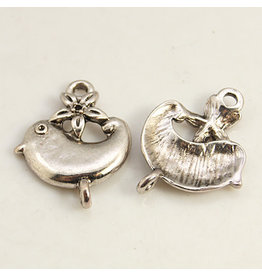 Bird  Link  25x20mm  Antique Silver  x5  NF