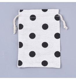 Gift Bag Black Polka Dots  14x10cm  x5