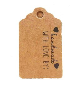 Kraft Paper Gift Tag  Handmade with love by:  50x30mm  x10