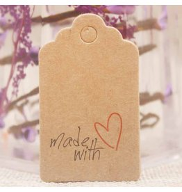 Kraft Paper Gift Tag  Made with Love   50x30mm  x10