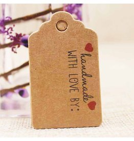 Kraft Paper Gift Tag  Handmade with Love   50x30mm  x10