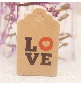 Kraft Paper Gift Tag   Love   50x30mm  x10