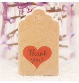 Kraft Paper Gift Tag  Thank You Heart  50x30mm  x10
