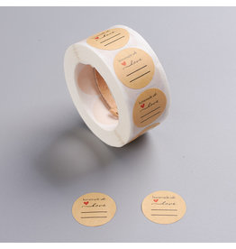Kraft Sticker Handmade with Love 25mm  x1 Roll  500pcs