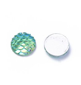 Mermaid Fish Scale Round Resin Cabochon 12x3mm Cyan Blue Green x10