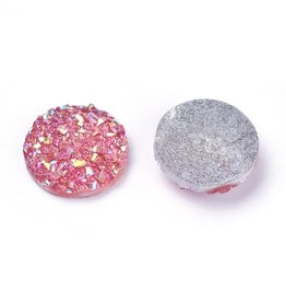 Druzy Round  Resin Cabochon 12x3mm Deep Pink x10