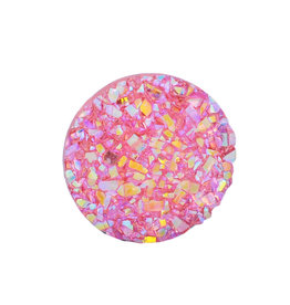 Druzy Round  Resin Cabochon 12x3mm Hot Pink x10