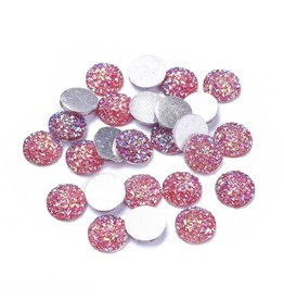 Druzy Round  Resin Cabochon 12x3mm Red  x10