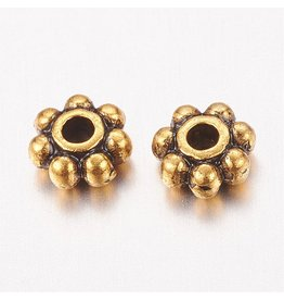 Daisy Spacer Bead Antique Gold 4mm x100 NF