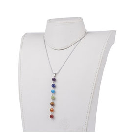 """Necklace with Chakra Stones 8mm 16"""" Stainless SteelChain"""