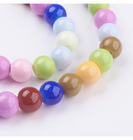 6mm  Round   Glass Pearl Mix  approx  x70