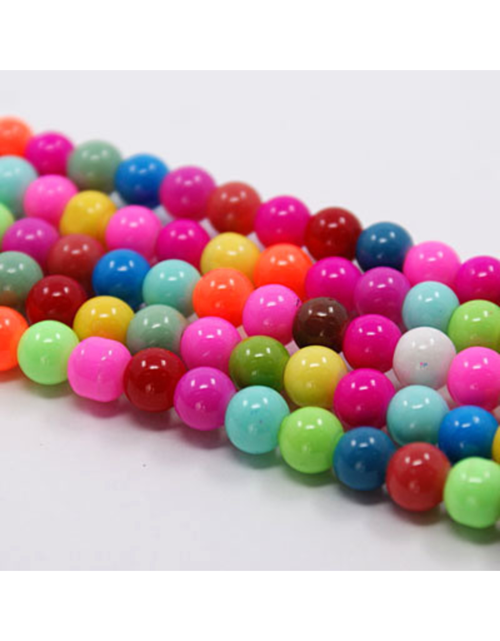 8mm  Round   Glass Pearl Mix  approx  x52