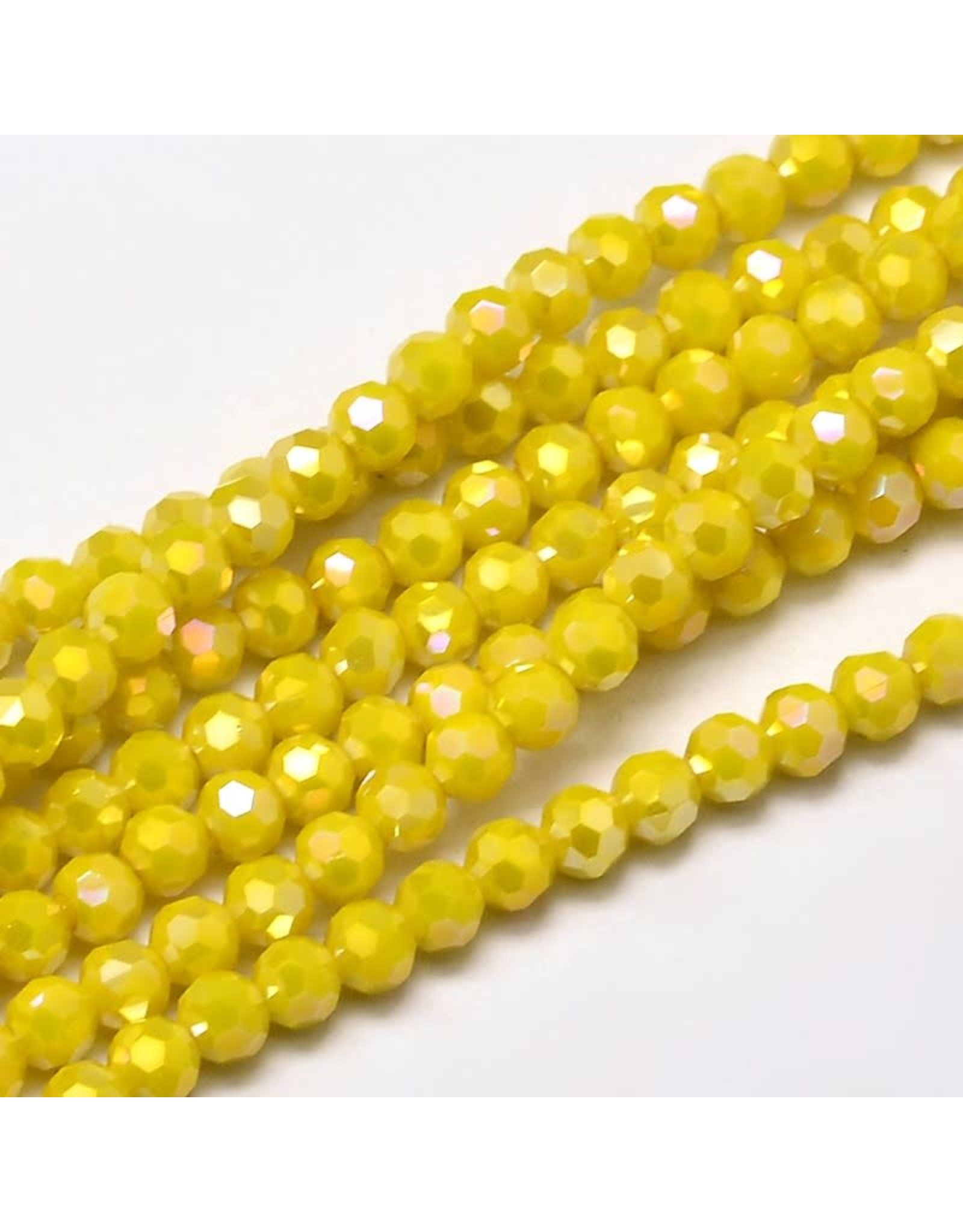 4mm Round  Opaque Yellow Lustre  x95