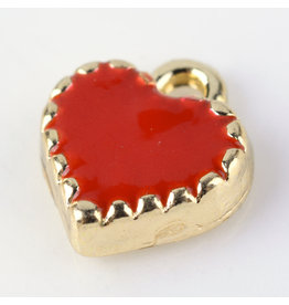 Heart Charm 8mm Red Gold  x5