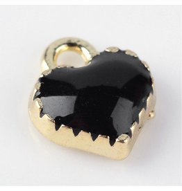 Heart Charm 8mm Black Gold  x5