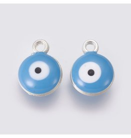 13mm Evil Eye Charm Blue Platinum  Double Sided x5