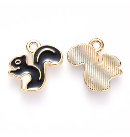 Squirrel Charm 12mm Black Gold  x5