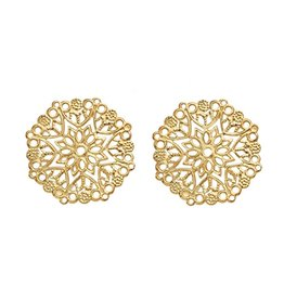 Octagon Link Filigree  35mm Gold  x5