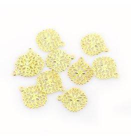 Circle Pendant  Filigree  15mm Gold  x10
