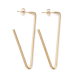 Hoop Earring Triangle  54x21mm Stainless Steel  Gold x1 Pair