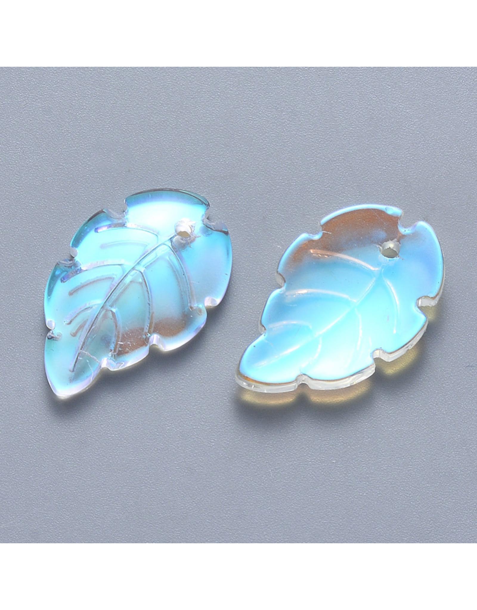24x15x3mm Glass Leaf  Clear AB x10
