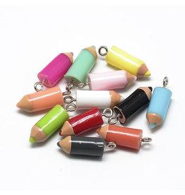 21x8mm  Resin Pencil Crayon   Assorted  x3 Pair
