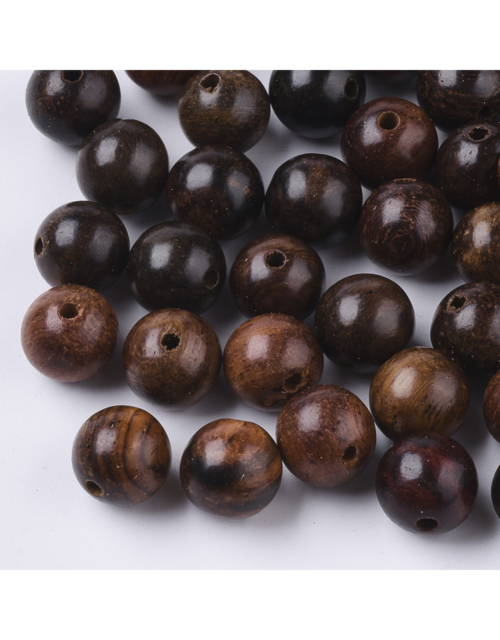 8mm Wood Round Bead Red Brown x100