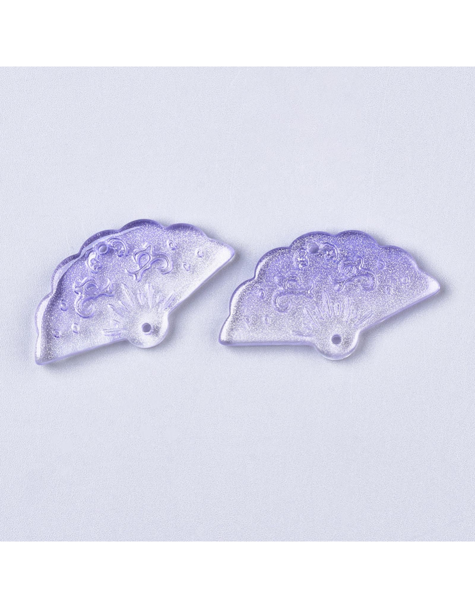 20x35x4mm Glass Fan Link Purple x6