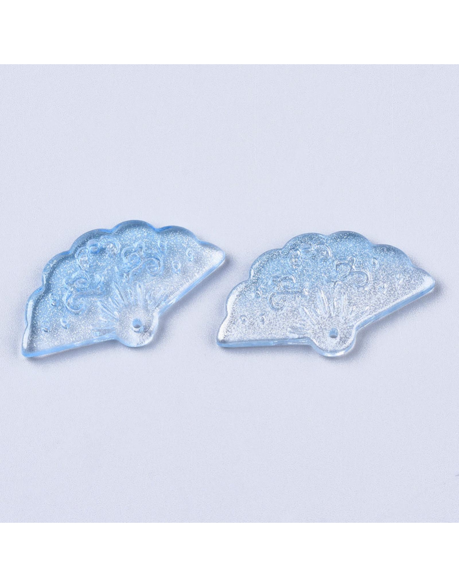 20x35x4mm Glass Fan Link Light Blue  x6