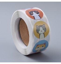 Coloured Sticker Cats 25mm  x1 Roll  500pcs