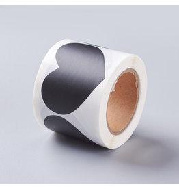 Black Sticker Heart  41x60mm  x1 Roll  150pcs