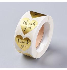 Gold Sticker Heart Thank You  25mm  x1 Roll  500pcs