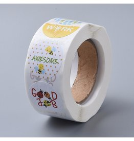Coloured Sticker Round Words of encouragement 25mm  x1 Roll  500pcs