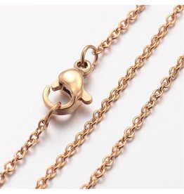 Stainless Steel  Necklace  Gold 1.5x.5mm  17'' x1