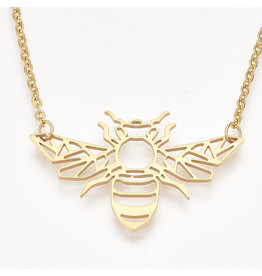 Bee  Necklace Stainless Steel  Gold 25x39mm  17'' x1