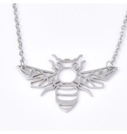 Bee  Necklace Stainless Steel   25x39mm  17'' x1