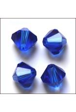 4mm Bicone  Sapphire Blue   'AAA'  Grade  x50