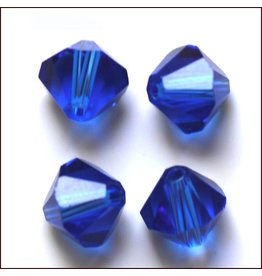 4mm Bicone  Sapphire Blue   'AAA'  Grade  x50