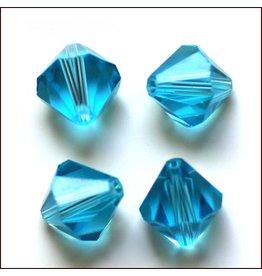 4mm Bicone  Aqua Blue   'AAA'  Grade  x50