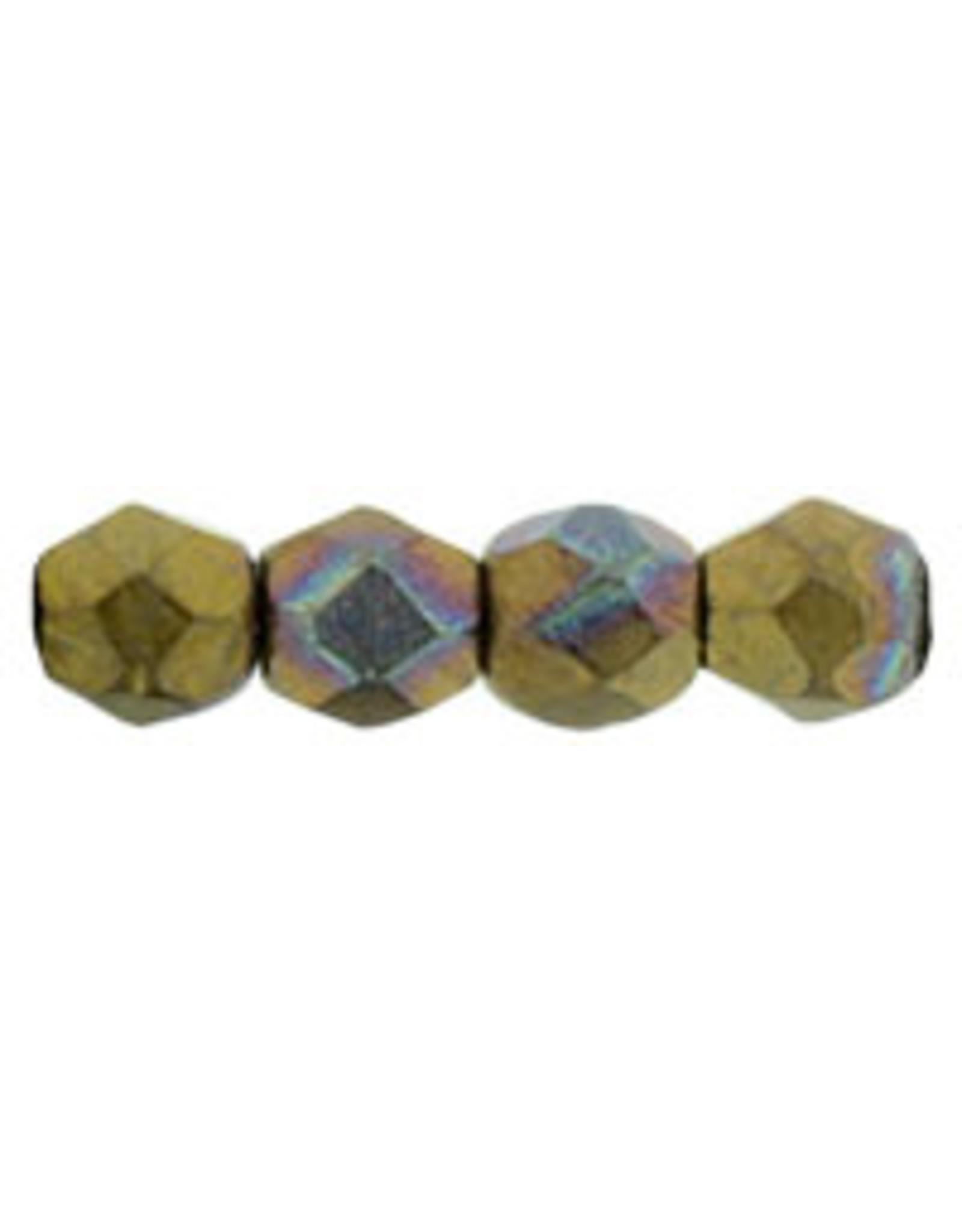 Czech 3mm Fire Polish Bronze Clay Brown Matte Metallic  x50