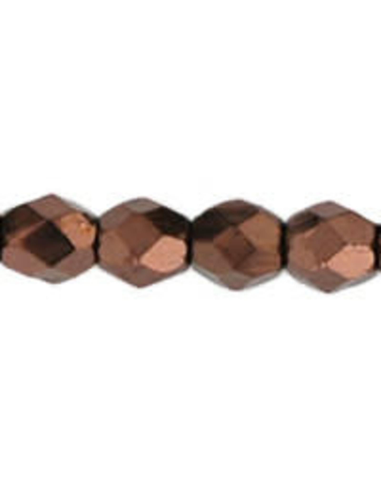 Czech 3mm Fire Polish Dark Bronze Brown Metallic  x50