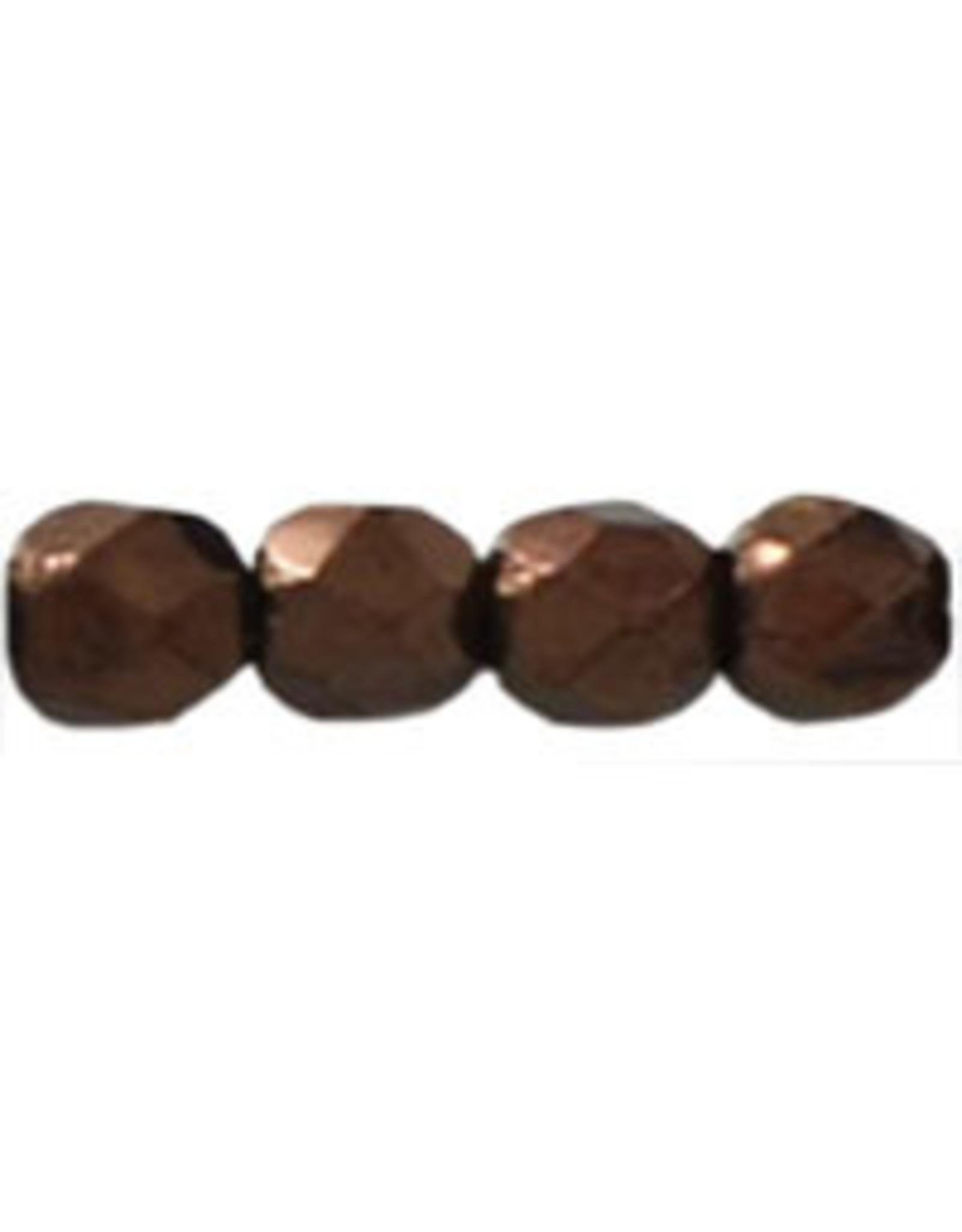 Czech 3mm Fire Polish Chocolate Brown Metallic  x50